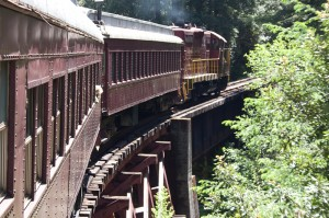 Skunkt Train on bridge